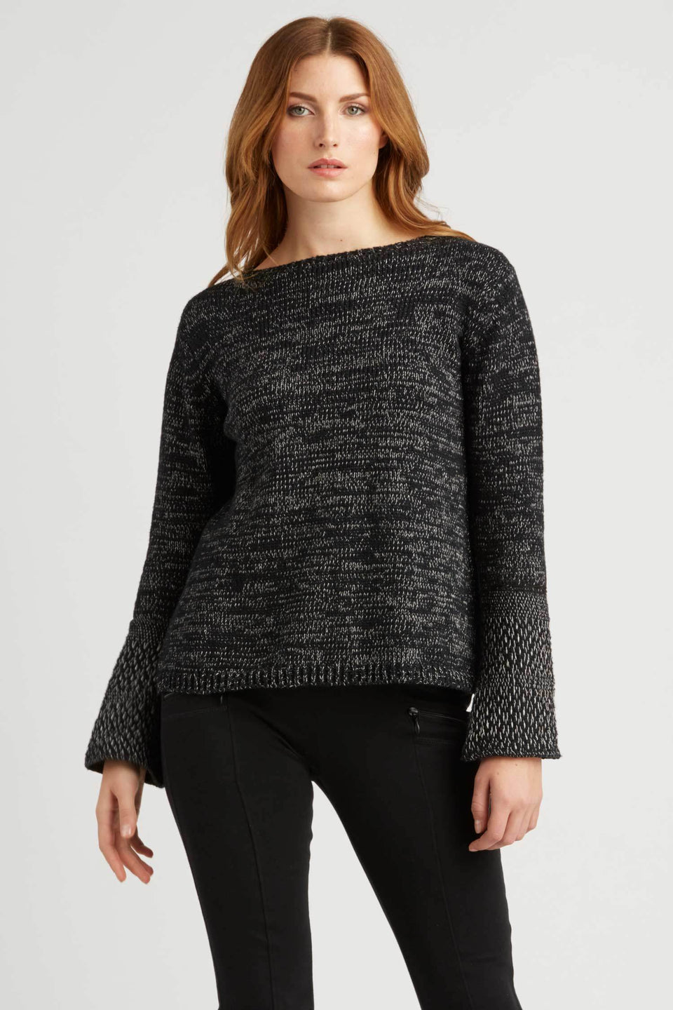 Woven Cuff Pullover in Black Ivory Mix