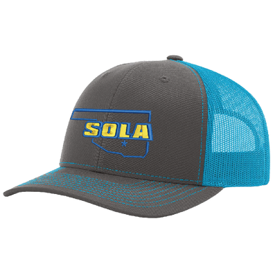 SOLA Mesh Back Trucker Cap - Charcoal/Neon Blue w/2 Color Logo