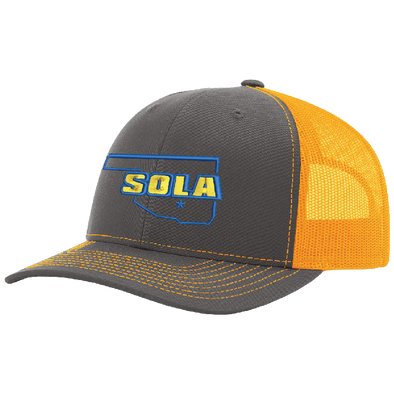 SOLA Mesh Back Trucker Cap - Charcoal/Neon Orange w/2 Color Logo