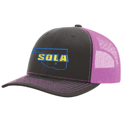 SOLA Mesh Back Trucker Cap - Charcoal/Neon Pink w/2 Color Logo