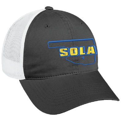 SOLA Twill Front Mesh Back Cap - Charcoal/White w/2 Color Logo