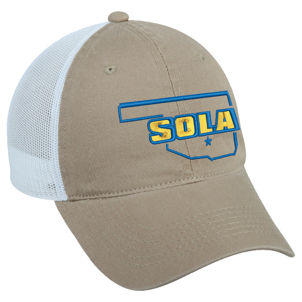 SOLA Twill Front Mesh Back Cap - Khaki/White w/2 Color Logo