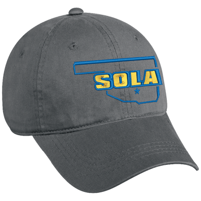 SOLA Low Profile Unstructured Twill Cap - Charcoal w/2 Color Logo