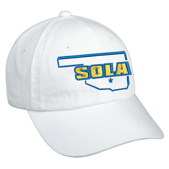 SOLA Low Profile Unstructured Twill Cap - White w/2 Color Logo