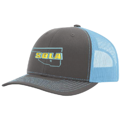 SOLA Mesh Back Trucker Cap - Charcoal/Columbia Blue w/2 Color Logo