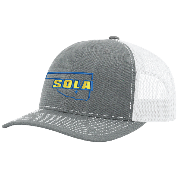 SOLA Mesh Back Trucker Cap - Heather Grey/White w/2 Color Logo