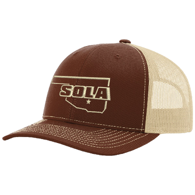 SOLA Mesh Back Trucker Cap - Brown/Khaki w/1 Color Logo