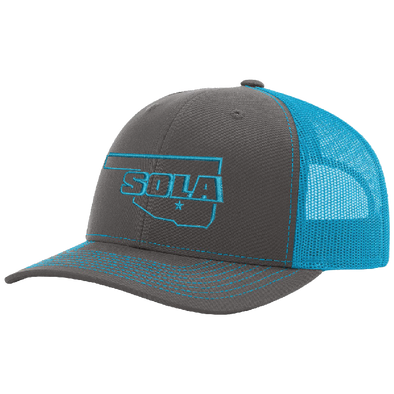 SOLA Mesh Back Trucker Cap - Charcoal/Neon Blue w/1 Color Logo