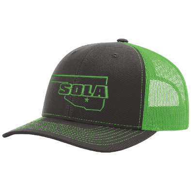 SOLA Mesh Back Trucker Cap - Charcoal/Neon Green w/1 Color Logo