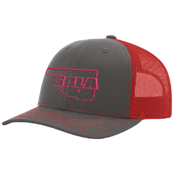 SOLA Mesh Back Trucker Cap - Charcoal/Neon Red w/1 Color Logo