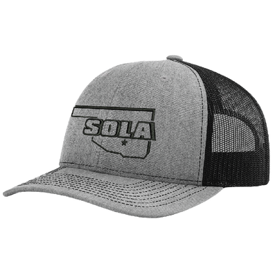 SOLA Mesh Back Trucker Cap - Heather Grey/Black w/1 Color Logo