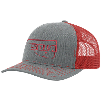 SOLA Mesh Back Trucker Cap - Heather Grey/Red w/1 Color Logo