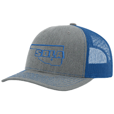 SOLA Mesh Back Trucker Cap - Heather Grey/Royal w/1 Color Logo
