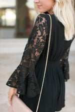 DATE NIGHT LACE SLEEVE ROMPER