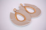 ADRIANNA FAUX LEATHER EARRINGS-NUDE