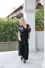 BRIGHT BLOOMS EMBROIDERED MAXI DRESS