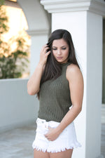 FALLING FOR YOU SWEATER TANK- OLIVE