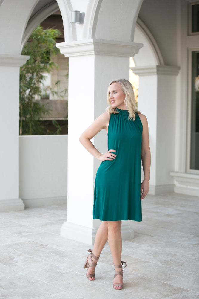 EDEN HIGH-NECK DRESS- EMERALD