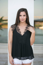 ENCHANTED LACE BLOUSE-BLACK
