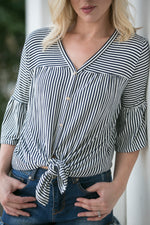 NAVY STRIPE BUTTON-UP BLOUSE