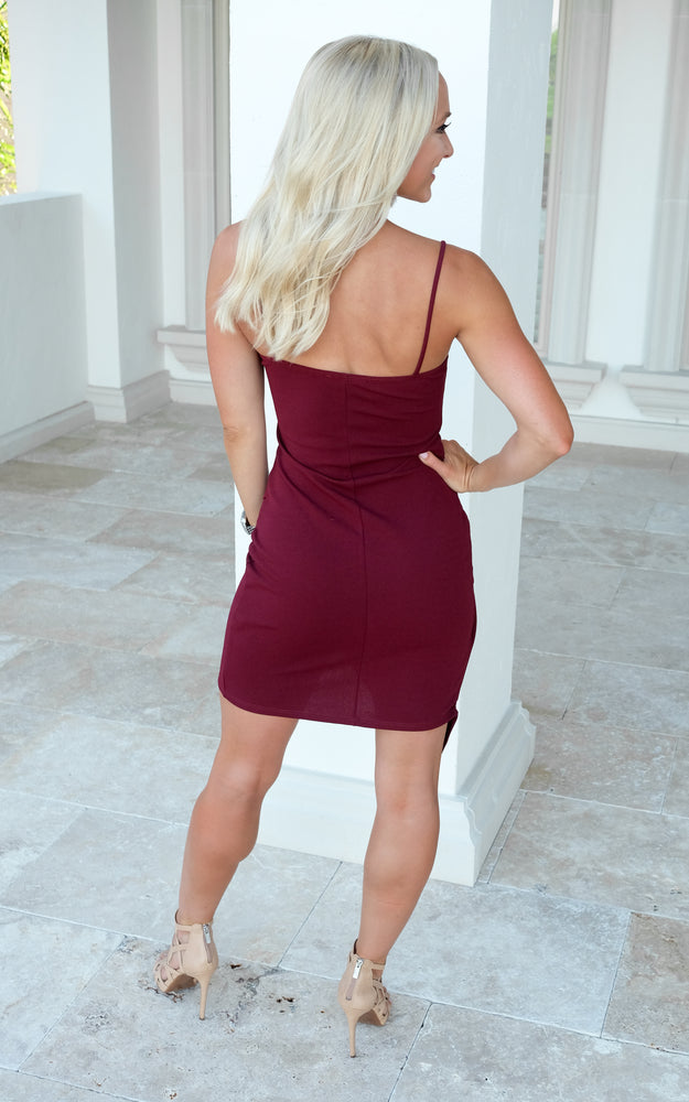 END GAME MINI DRESS-BURGUNDY