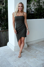 END GAME MINI DRESS-OLIVE