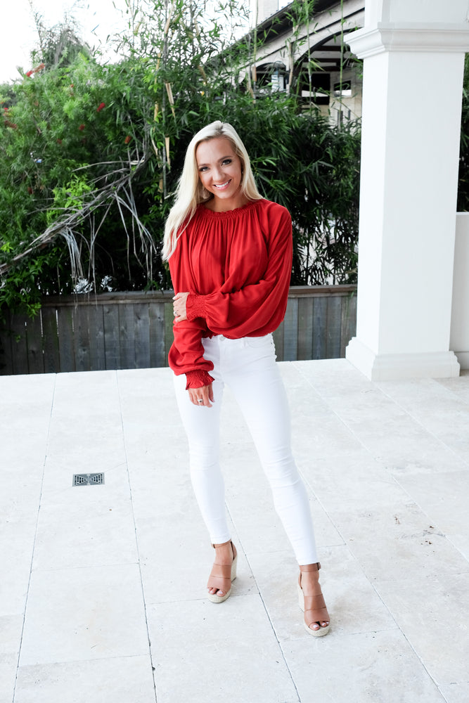 FREE FLOW LONG SLEEVE BLOUSE- RUBY