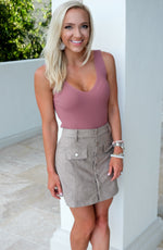 SIENNA FAUX SUEDE MINI SKIRT-MOCHA