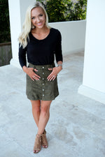 SIENNA FAUX SUEDE MINI SKIRT-OLIVE