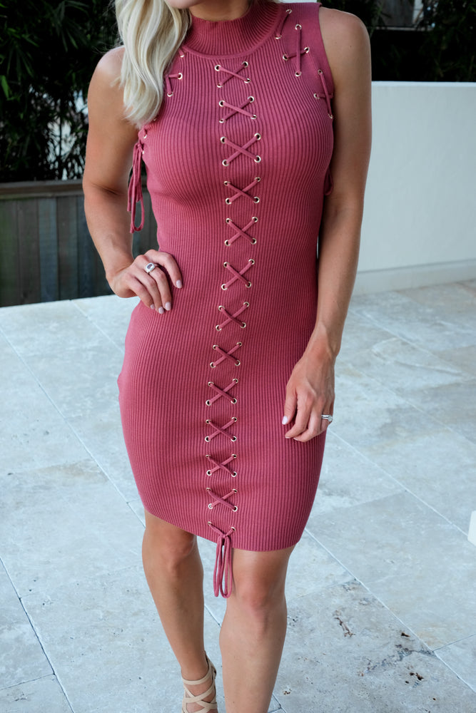 ROSE GOLD LACE UP SWEATER DRESS