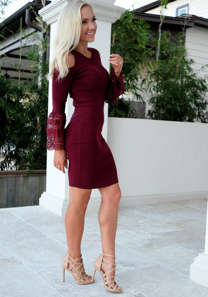 ARIA BELL SLEEVE SWEATER DRESS