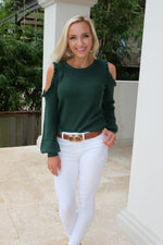 HUNTER GREEN COLD SHOULDER RUFFLE SWEATER