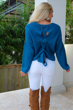 ADELAIDE LACE-UP KNIT SWEATER -TEAL
