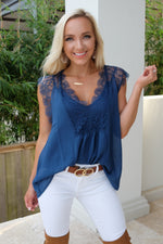ENCHANTED LACE BLOUSE-TEAL