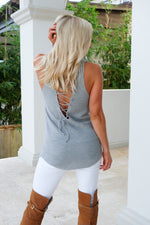SWEET SIMPLICITY LACE UP SWEATER TANK- DOVE GREY