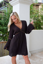 CAMDEN EYELET BELL SLEEVE DRESS- BLACK
