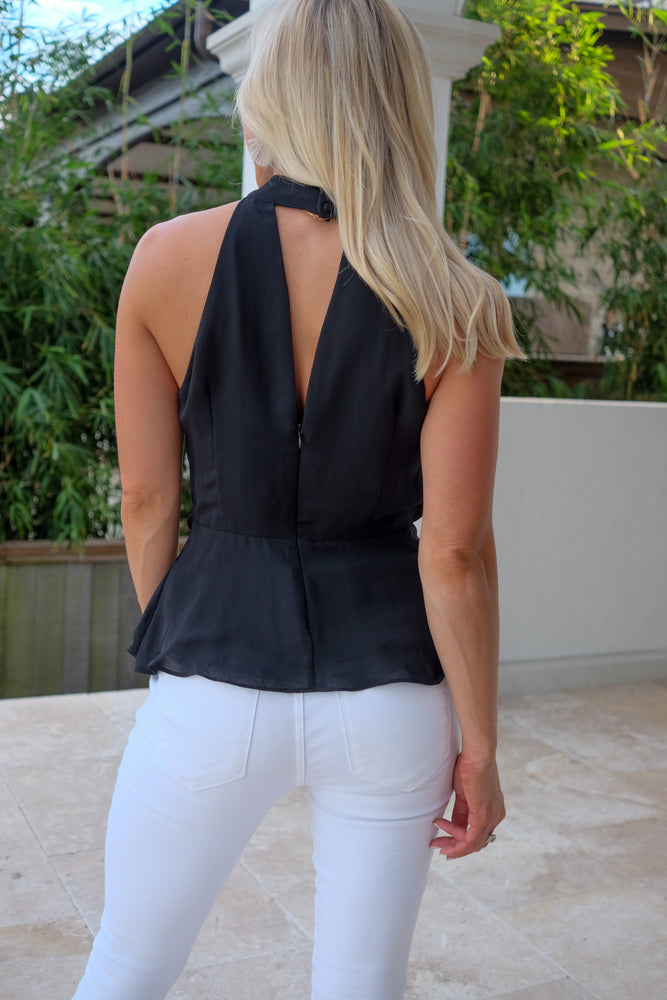 ISABELLA TIE-FRONT SLEEVELESS BLOUSE