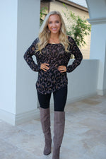 WILD ABOUT YOU KNIT SWEATER SHIRT- MOCHA LEOPARD