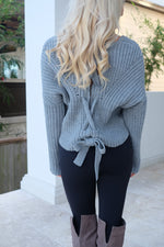 ADELAIDE LACE-UP KNIT SWEATER- CHARCOAL