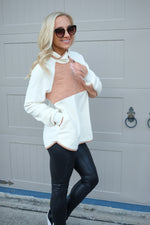 KEEGAN QUILTED FLEECE PULLOVER- IVORY