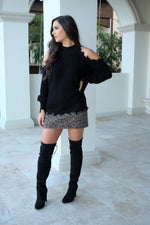 EVEREST BLACK COLD SHOULDER SWEATER