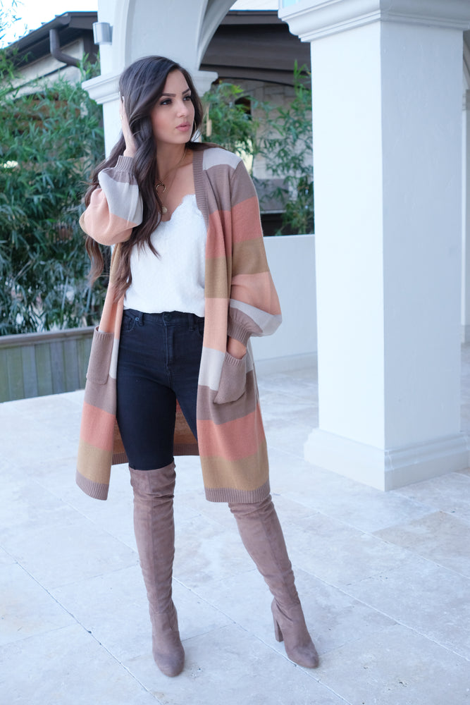 SUGAR + SPICE COLOR BLOCK CARDIGAN