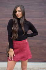 MADELINE FAUX SUEDE SKIRT- BURGUNDY