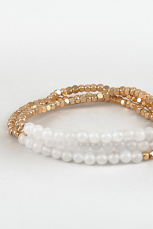 GOLD + STONE STRETCHY BEADED BRACELETS