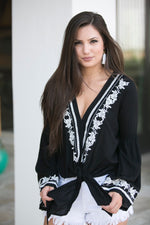 TESSA EMBROIDERED TIE-FRONT BLOUSE