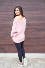 FUZZY OVERSIZED SWEATER-ROSE WATER
