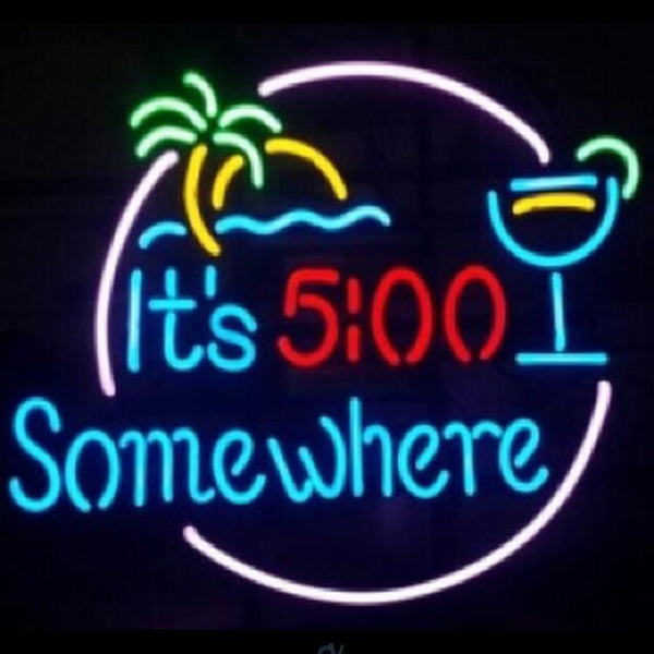 5:00 clock somewhere (Business - Bar) Neon Sign