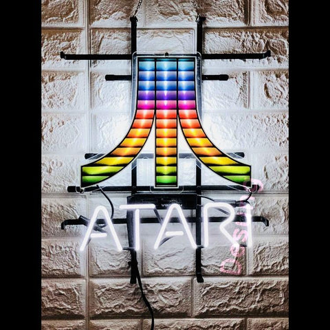 Desung Atari (Business - Arcade) vivid neon sign, front view, turned on