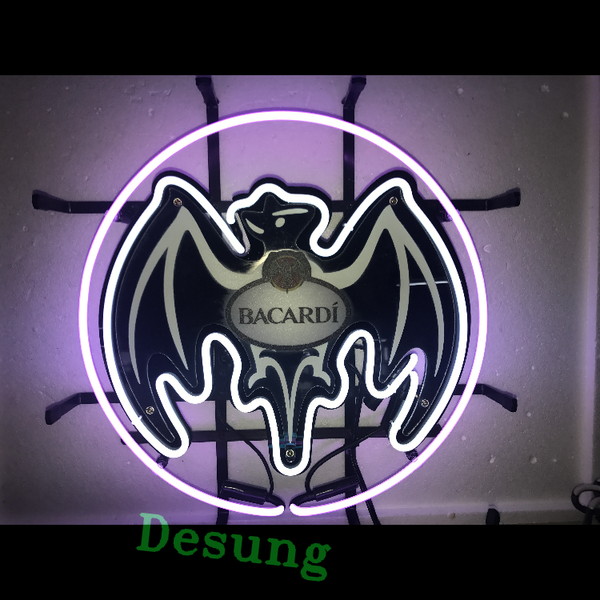 Desung Bacardi (Alcohol - Rum) vivid neon sign, front view, turned on