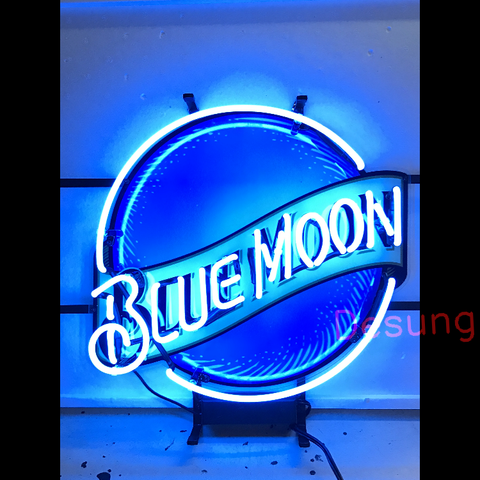 Desung Blue Moon (Alcohol - Beer) vivid neon sign, front view, turned on